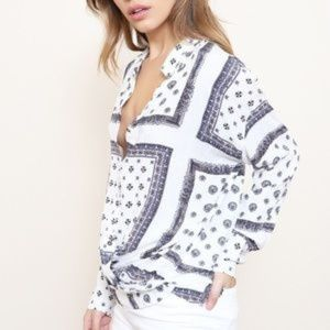Free People Paisley button down top